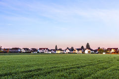 Rural landscape in Munich with new settlement Stock Photo