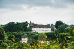 Rural landscape near medieval village. Rural landscape at sommer near medieval village stock image
