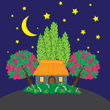 Rural landscape at night. Folk art vector illustration Royalty Free Stock Photography