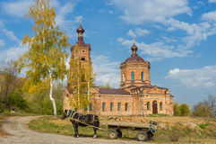 Rural landscape with old church Stock Images