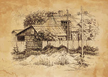 Rural landscape with old farmhouse. Hand drawing illustration Stock Photo
