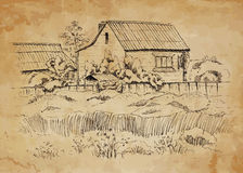 Rural landscape with old farmhouse. Hand drawing illustration Stock Photos