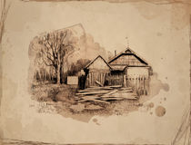Rural landscape with old house. Hand draw, sketch. I am the author of this picture Royalty Free Stock Photos