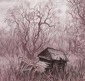 Rural landscape with old house. Hand drawing. Sketch Royalty Free Stock Photos