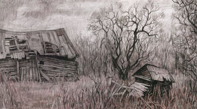 Rural landscape with old house. Hand drawing.Scetch Royalty Free Stock Photos