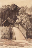 Rural landscape with old house and bridge. Hand drawing.Scetch Royalty Free Stock Photography