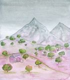 Rural landscape with old house, field and mountains. Watercolor painting in pink, green and grey tones Royalty Free Stock Image