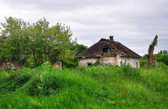 Rural landscape with an old ruined house Stock Images