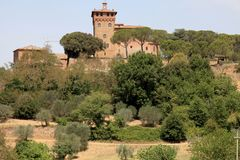 Rural landscape with old tower, Tuscany, Italy. Rural landscape with old tower,Val d`Orcia, Tuscany, Italy stock photography