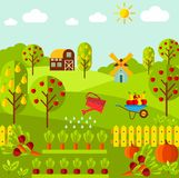Rural landscape with organic vegetables, fruit garden, farm, mill Stock Photo