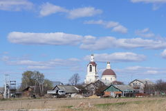 Rural landscape with Orthodox Church in Moscow region. A view of the village with an Orthodox Church near the provincial town of Kimry Royalty Free Stock Photography