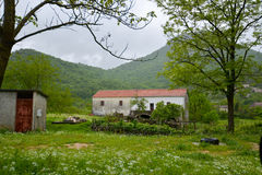 Rural landscape. Outhouses at the small village at Montenegro Royalty Free Stock Photography