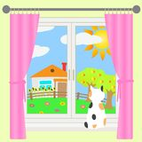 Rural landscape outside the window. Vector illustration of rural landscape outside the window Stock Photos