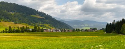 Rural landscape panorama, Austrian Alps nature background royalty free stock photography