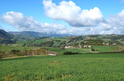 Rural landscape panorama with a meadow , hills on the horizon and  curved path Royalty Free Stock Photography