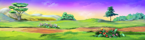 Rural Landscape with a Path against the Violet Sky. In a Summertime. Digital Painting Background, Illustration in cartoon style character Royalty Free Stock Photography