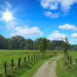 Rural landscape with path through the meadows Royalty Free Stock Photo