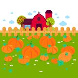 Rural landscape with a pumpkin field and a farmhouse. royalty free illustration