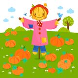 Rural landscape with pumpkin field and a scarecrow. stock illustration