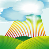 Rural landscape with rainbow. Stripes and clouds vector illustration