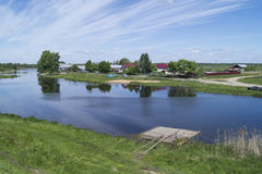 Rural landscape with river Stock Photos