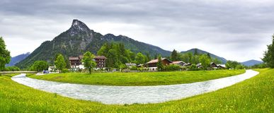 Rural landscape with river. Oberammergau Stock Image