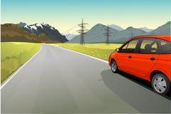 Rural landscape with road. Vector illustration of rural landscape with road Royalty Free Stock Images