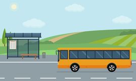 Rural landscape with road, bus stop and moving bus. Stock Photo