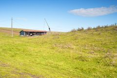 Rural landscape with a shed Royalty Free Stock Photo