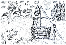 Rural Landscape Sketch Stock Photography