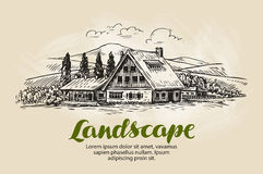 Rural landscape sketch. Farm, country house, cottage vector illustration Stock Photo