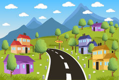 Rural landscape with small town Stock Photo