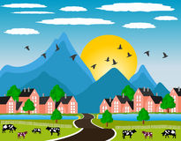Rural landscape with small town in mountain Stock Photo