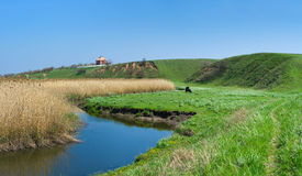 Rural landscape with small Ukrainian river Sura Royalty Free Stock Photo