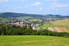 Rural landscape with small village Stock Image