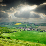 Rural landscape with small village Royalty Free Stock Photos