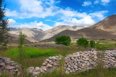 Rural Landscape with stone wall in  mountains Stock Photos