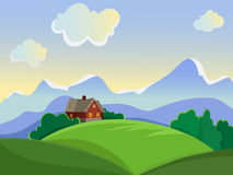 Rural landscape. Summer landscape. Rural landscape on the background of meadows and mountains. House to trug in a meadow Royalty Free Stock Photo