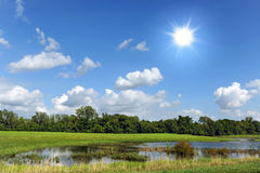 Rural Landscape With sun Stock Photo