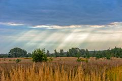 Rural landscape and sun rays through clouds royalty free stock photos