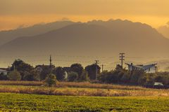 Rural landscape at sunset Royalty Free Stock Image