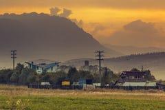 Rural landscape at sunset Stock Images