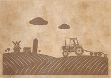 Rural landscape texture of old paper in grunge style royalty free stock photography