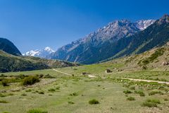 Rural landscape in Tien Shan mountains Royalty Free Stock Photos