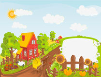 Rural landscape. With trees, field, house vector illustration Stock Photo