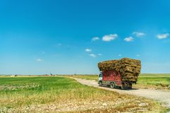 Rural landscape with a truck loaded with straw packs Royalty Free Stock Photo