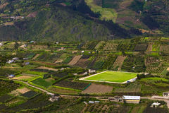 Rural Landscape in Tungurahua Province, Ecuador. Rural hillside landscape with small farms, orchards and a pitch along the road between Ambato and Banos in Stock Photos