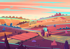 Rural landscape. Vector illustration Royalty Free Stock Photo