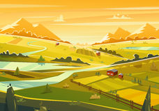 Rural landscape. Vector illustration Royalty Free Stock Photos