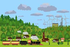 Rural landscape. Vector illustration. Village scape image. Rural landscape. Train and railroad. Powerplant and greenery, blue sky. Flat colorful  illustration Royalty Free Stock Photos